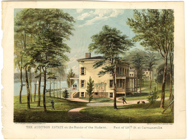 The Audubon Estate on the Banks of the Hudson Foot of 156th St. at Carmansville (from D.T. Valentine's Manual of the Council of the City of New York), 1865